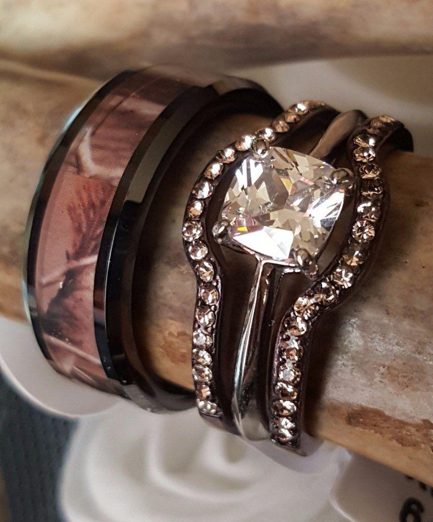 cheap camo wedding rings Camouflage Wedding Set Men s Women s Engagement plus Wedding Bands Mens Tungsten Carbide Camo