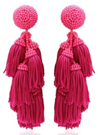 Pink tassel statement earrings