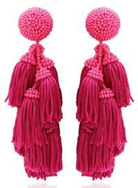 Pink tassel statement earrings - 5 jewelry trends for 2017 ...
