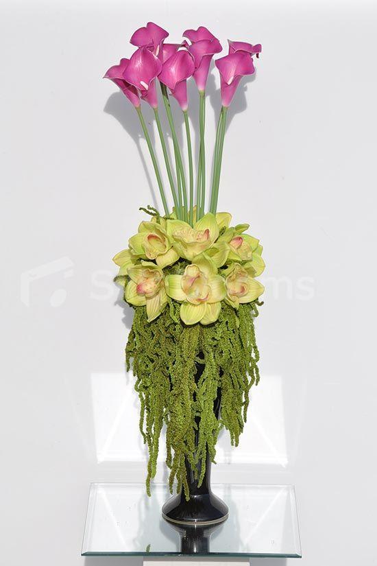 Tall Pink Calla Lilies \ Preserved Amaranthus Floral Arrangement - silk arrangements for home decor