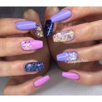 Purple and pink sumner nails glitter ombr nail art design ...