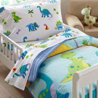 Dinosaurland Blue Green Dinosaur Toddler Bedding Comforter ...