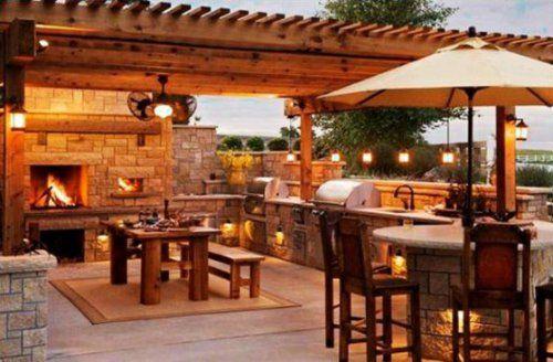 Outdoor Küche mit Grill feuerstelle beleuchtung naturstein - kuche im garten balkon grill