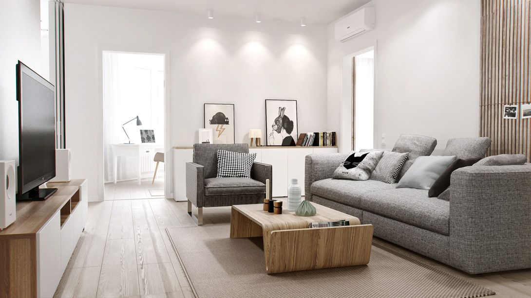 Home \ Apartment Cool Grey Sofa Design With Modern Wood Coffee - cool living room furniture