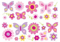 Fun4Walls SA30149 Flowers and Butterflies Wall Stickers ...