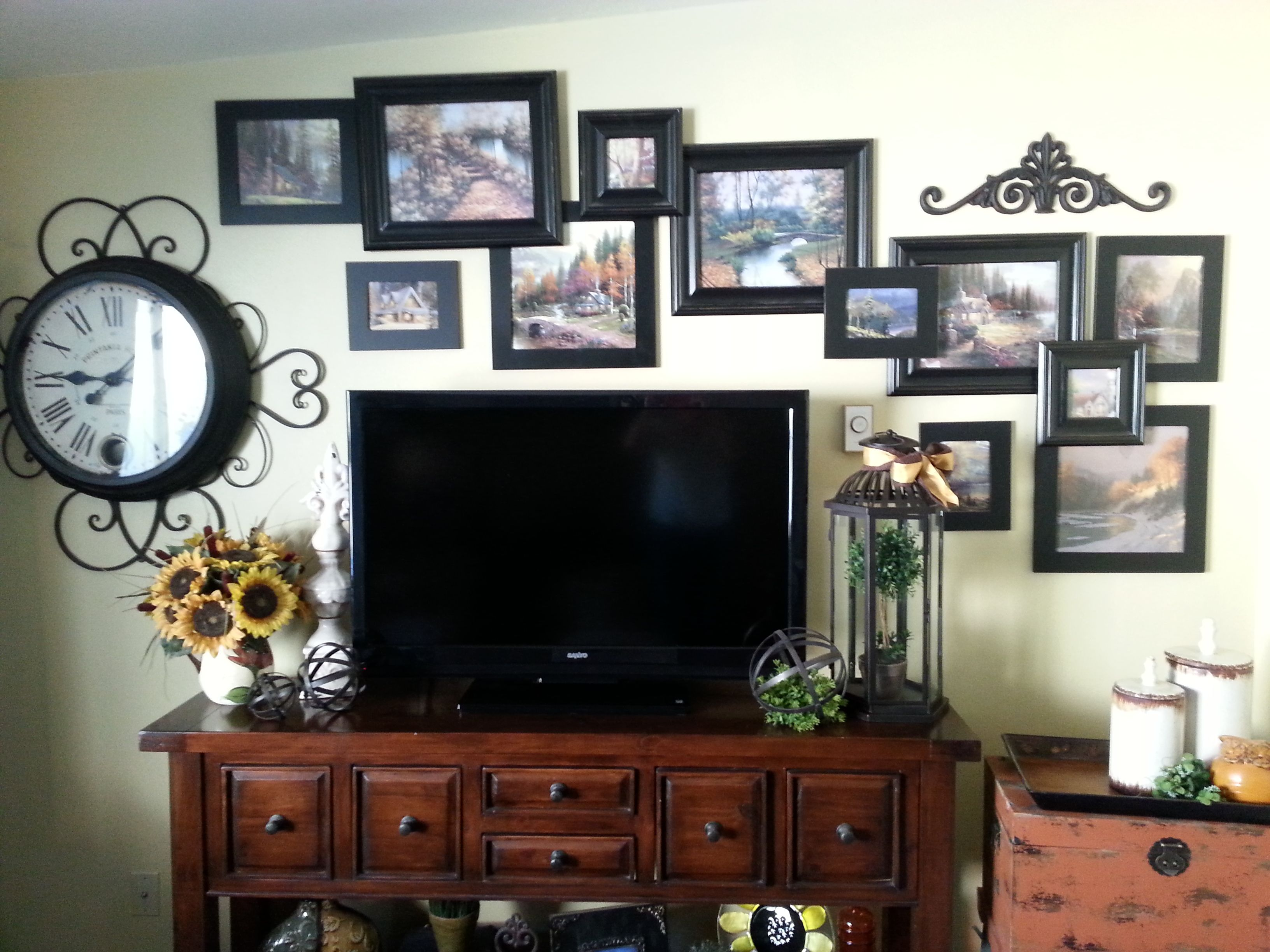 Decorate Wall Around Tv Cant Think Of Anything To Do With Your Big Ole Flat Screen