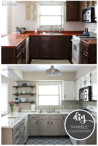 budget kitchen remodel Budget Kitchen Makeover DIY Faux Marble Countertops Painted with the White Diamond