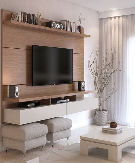 Manhattan Comfort Maple Cream \ Off-White City 22 Floating - designer wall unit