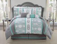 11 Piece Queen Alieli Gray/Mint Bed in a Bag Set | Sweet ...