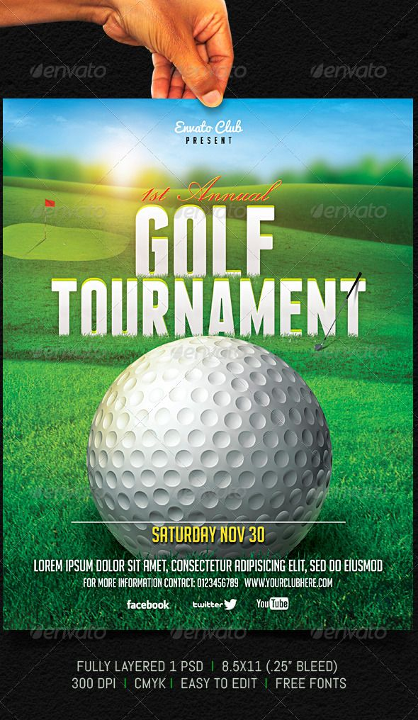 Golf Tournament Flyer Golf, Fonts and Print templates - golf tournament flyer template