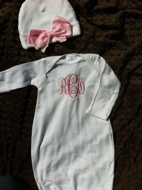 monogrammed newborn gowns