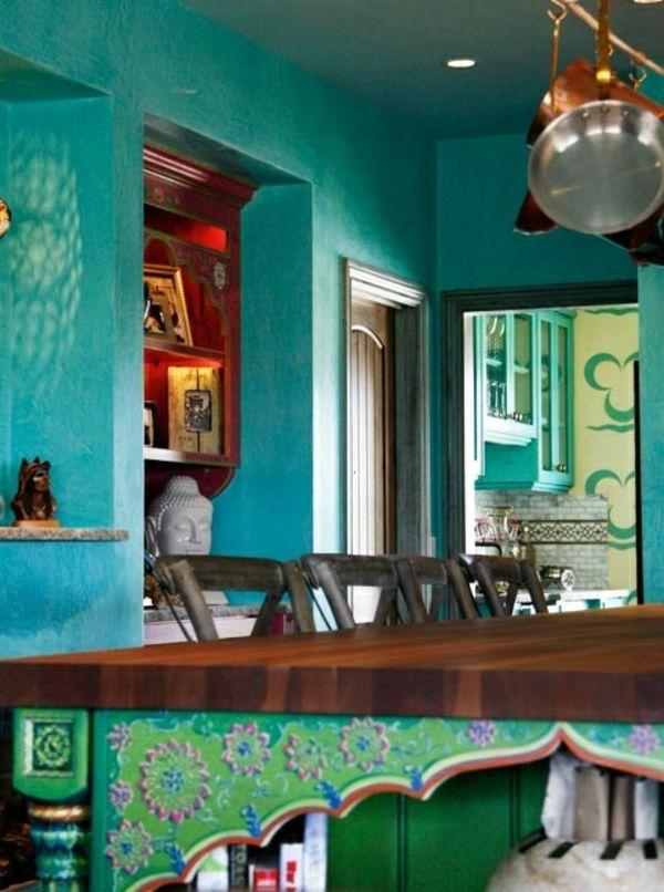 Wandfarbe pfannen küchen schiene Türkis wandgestaltung klassisch - kuchengestaltung mit farbe 20 ideen tricks