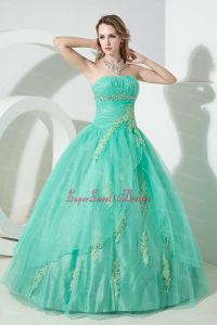 Turquoise Sweet 16 Dress Beading and Embroidery Ball Gown ...