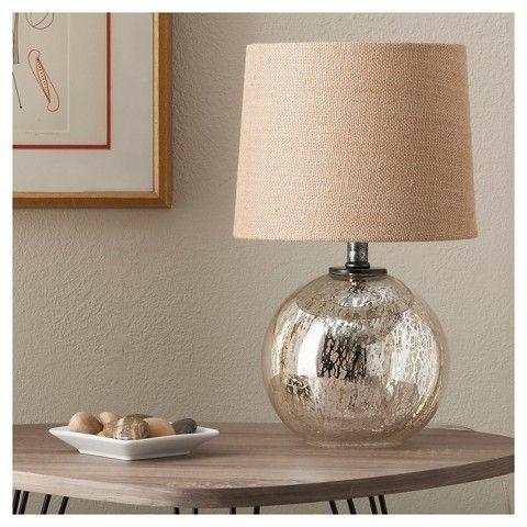 Clift Glass Table Lamp Base - Light Blue Pottery Barn - glass table lamps for living room