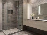 Modern Bathroom, gray + white, white floating vanity ...