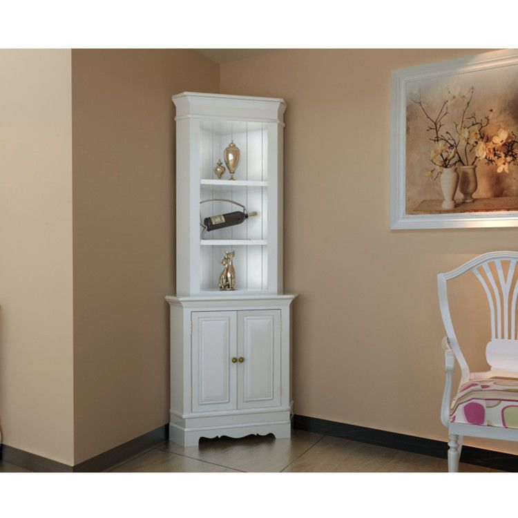 Corner Display Cabinet Wooden Shelf Shabby Chic Unit White Living - living room display cabinets