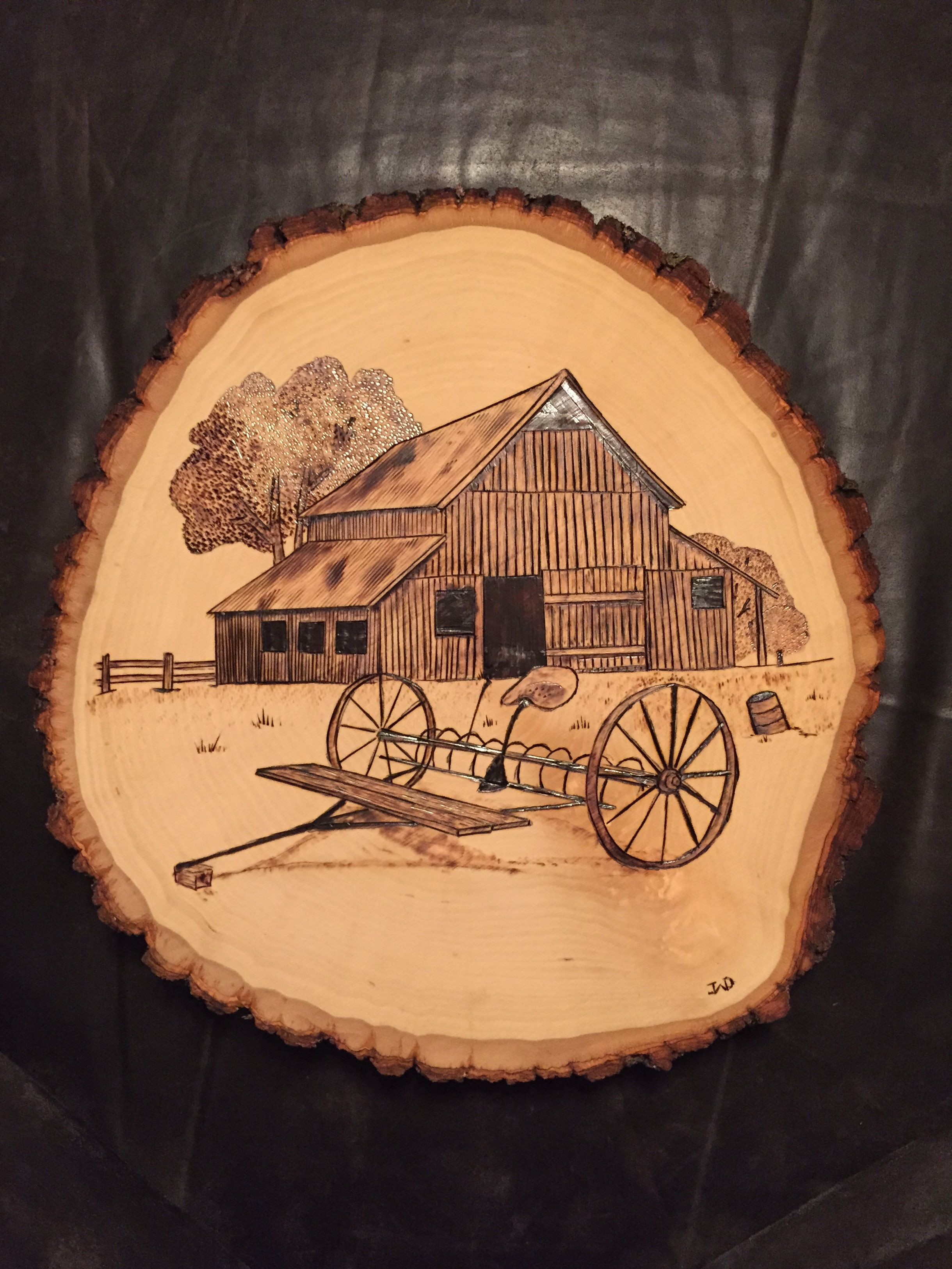 Barn Wood Art Ideas Barn With Rake Wood Burnt Art My Wood Burning Art
