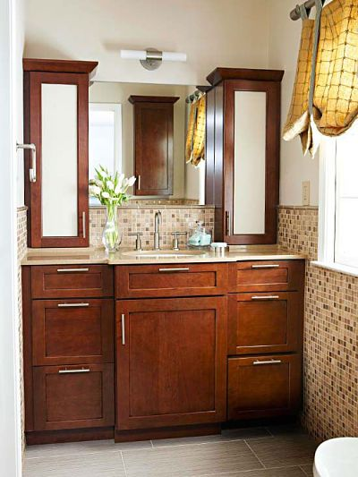 How to get two sinks and storage in a small bathroom For the - small bathroom cabinet ideas