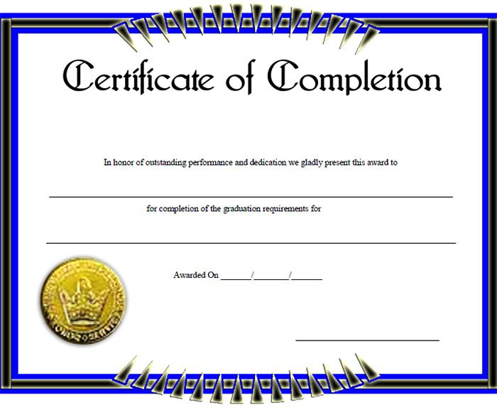 Certificate of Completion Template u2013 31+ Free Word, PDF, PSD, EPS - blank certificates of completion