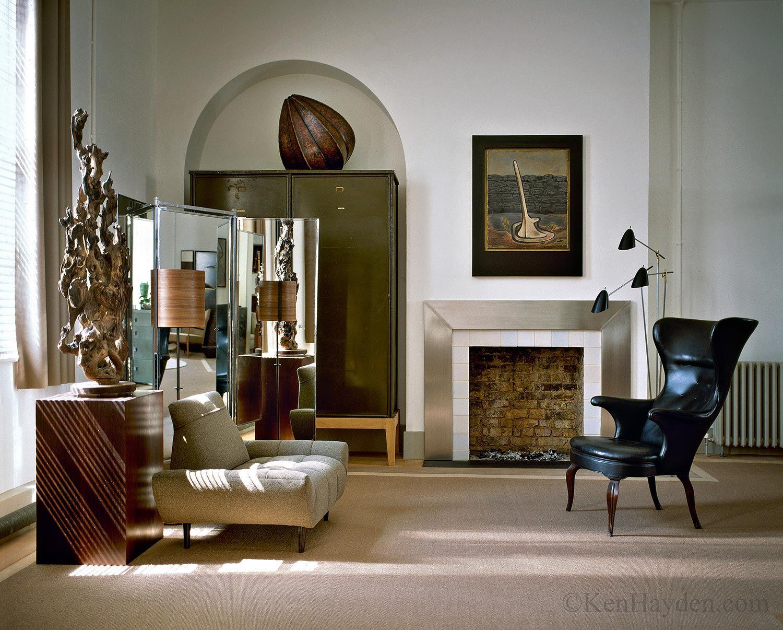 Brick and metal modern fireplace london loft jonathan reed