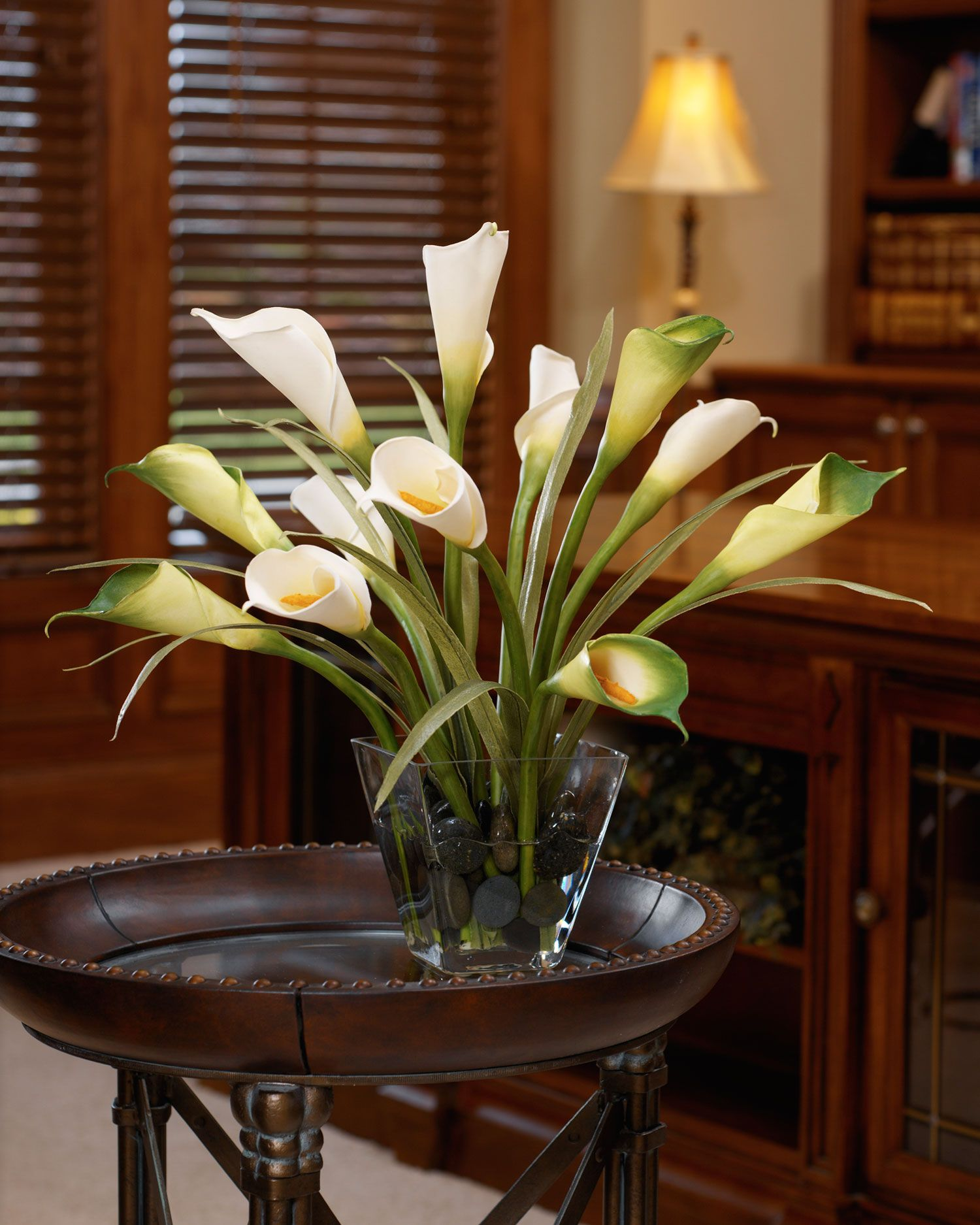 Silk Flower Table Arrangements Calla Lily And Foliage Silk Flower Centerpiece Calla