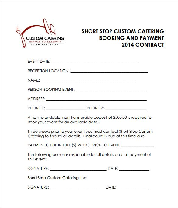 Reception Catering Contract PDF Free Download Catering Templates - catering contract template
