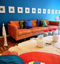 Complementary colors. Orange and blue. Interior design ...