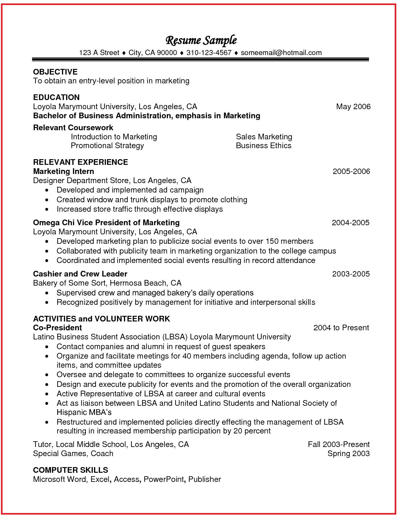 resume relevant coursework