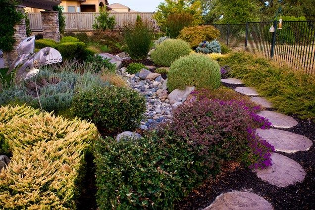 Dry Stream Bed, Drought Tolerant Landscape Garden Design Simple - drought tolerant garden designs