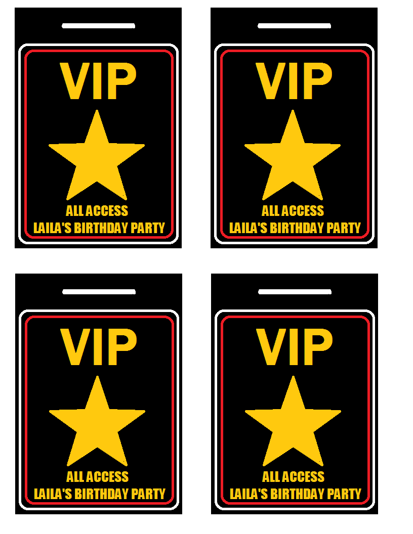 Vip Passes I Made For A Hollywood Red Carpet Party Punch