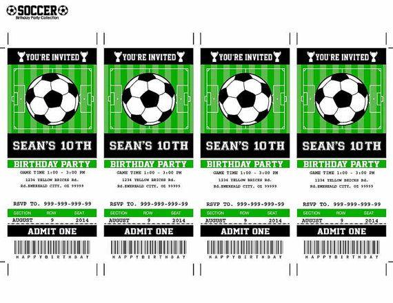 Soccer Birthday Party Invitation Ticket Printable by SqweezDesign - printable ticket invitations