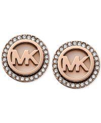 Michael Kors Rose Gold-Tone Mk Logo Disc Earrings ...