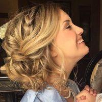 Wedding hair updo. Side braid, loose bun. Done by Heather ...