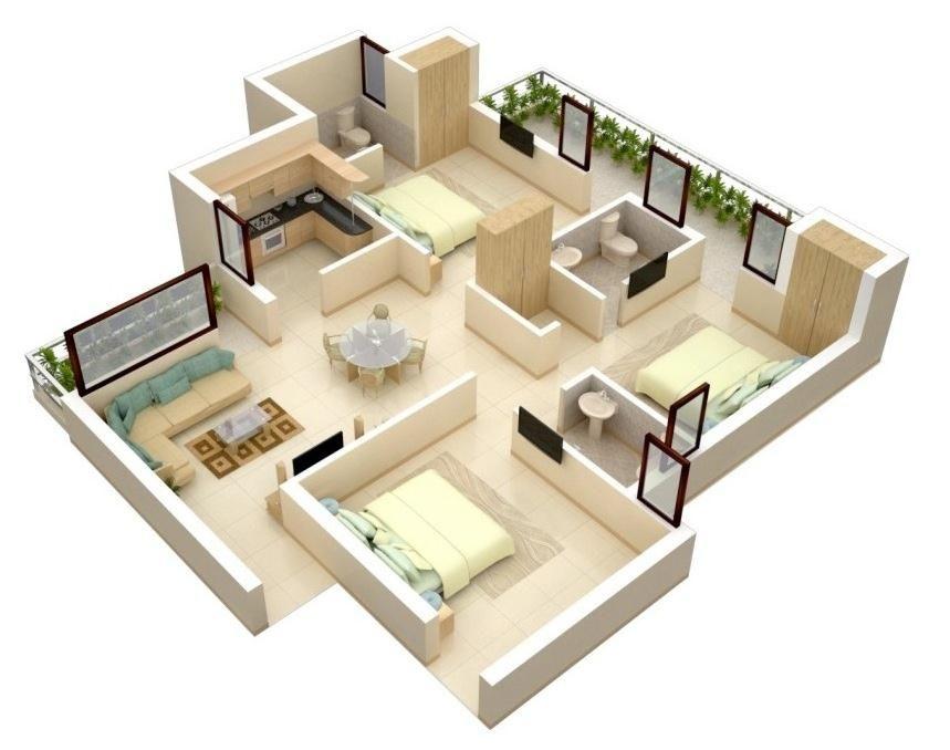 Modern Bungalow Floor Plan 3d small 3 bedroom floor plans House - bungalow floor plans
