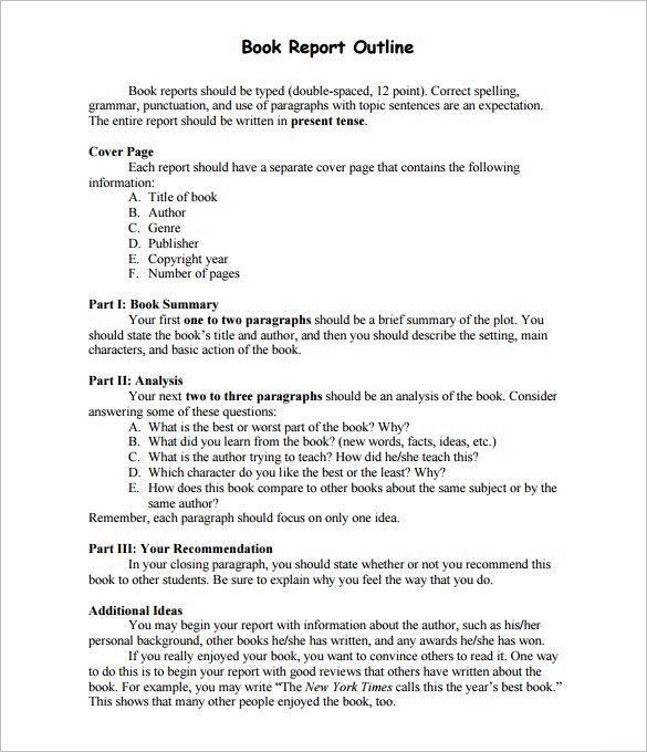 Sample-Book-Report-Outline-Template-PDF-Downloadjpg (585×680 - book outline template