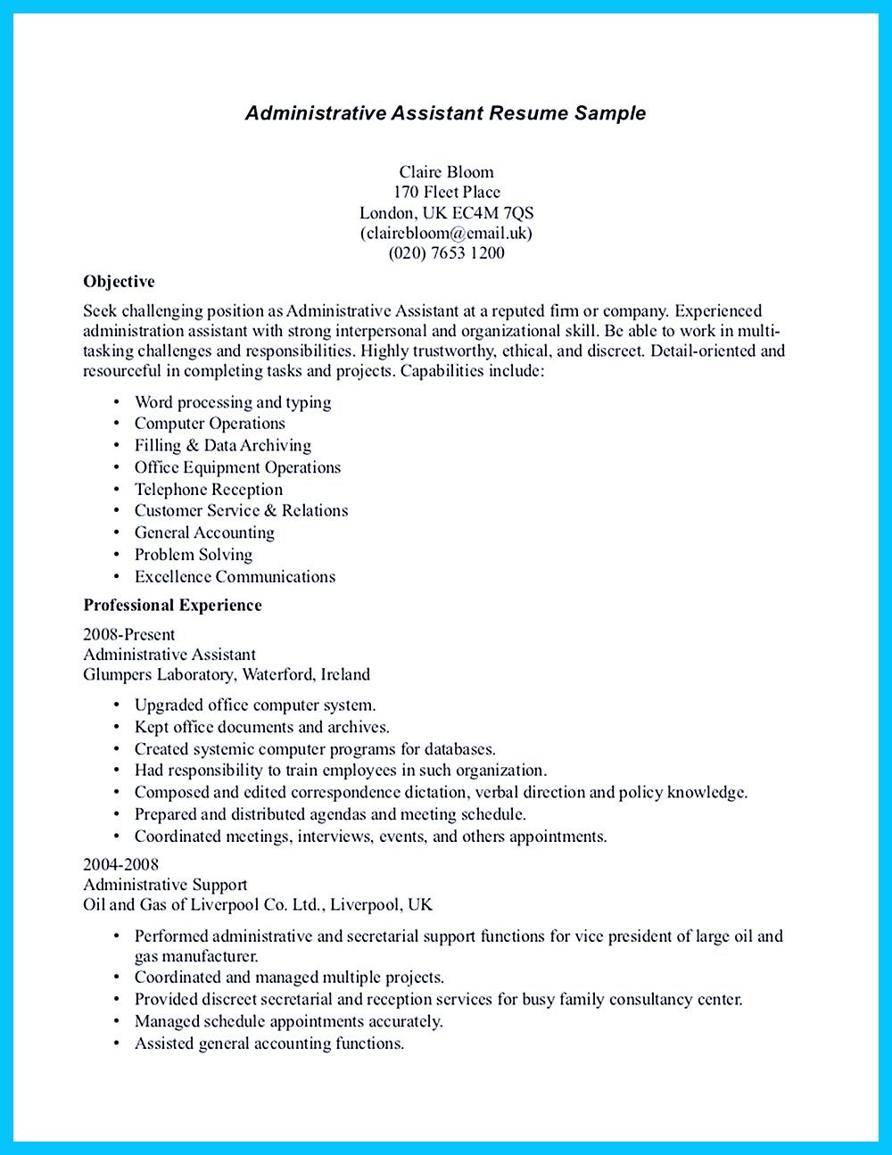 need assistant resume