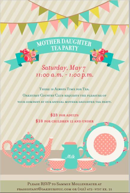 mother daughter tea party poster flyer template at
