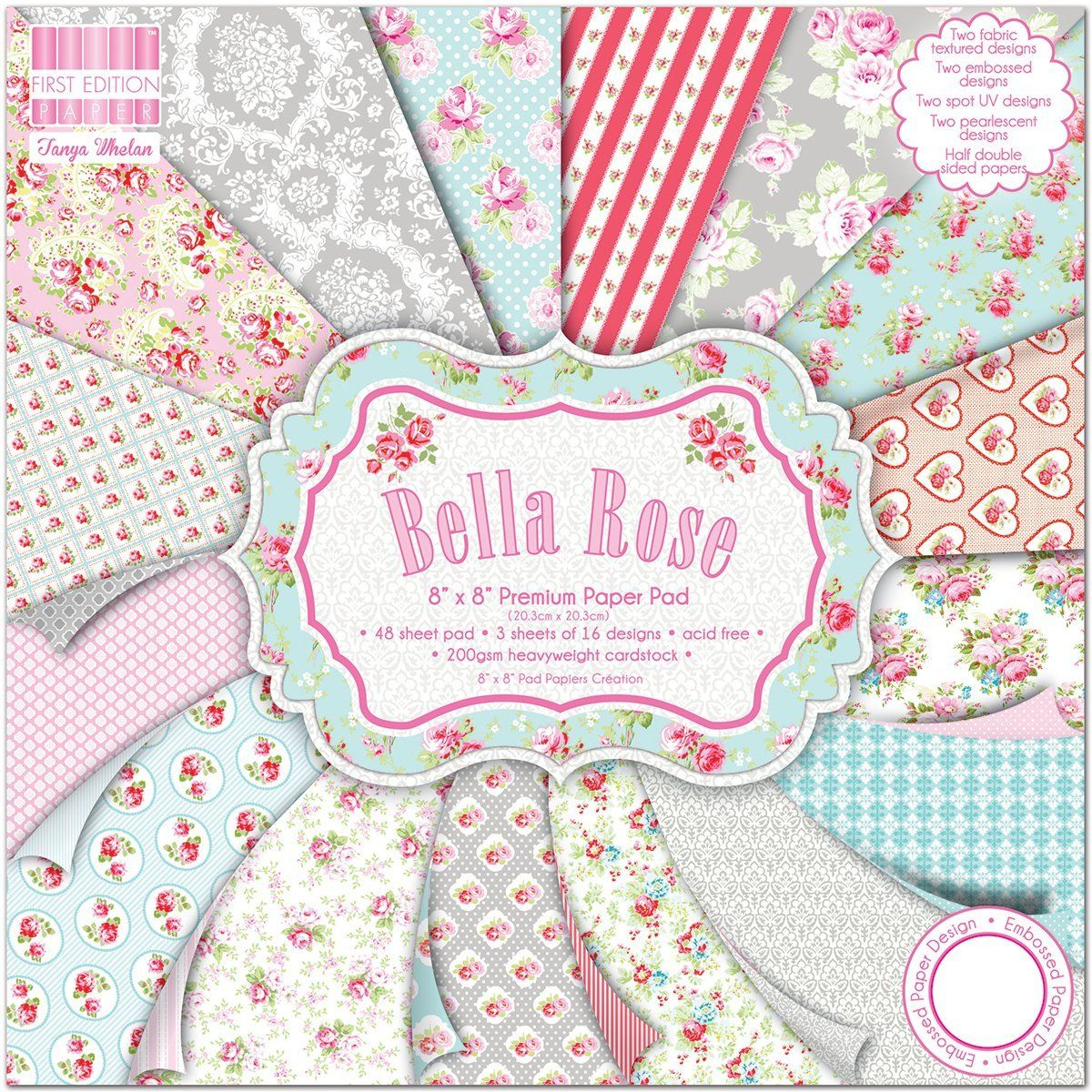 Premium cardstock first edition bella rose vintage 8 x 8 scrapbook papers