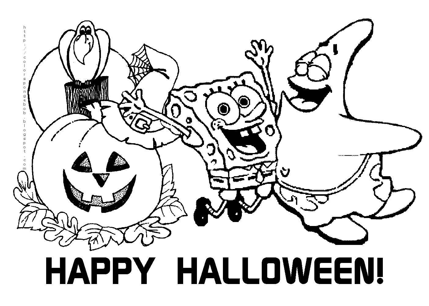 Free printable halloween calendar halloween spongebob squarepants coloring sheet free