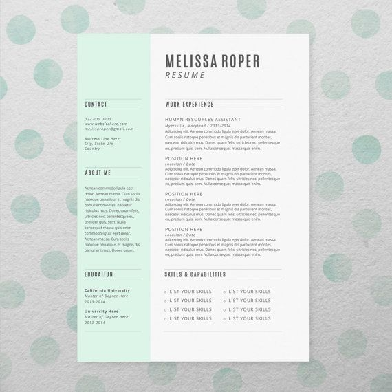 CV Design + Cover Letter, INSTANT DOWNLOAD, Printable Resume - resume in microsoft word