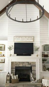 Living Room Stone Fireplace // Shiplap // Built-Ins ...
