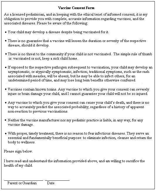 A Truthful Vaccine Consent Form u2013 That No Mom Could Ever Sign - vaccine consent form template