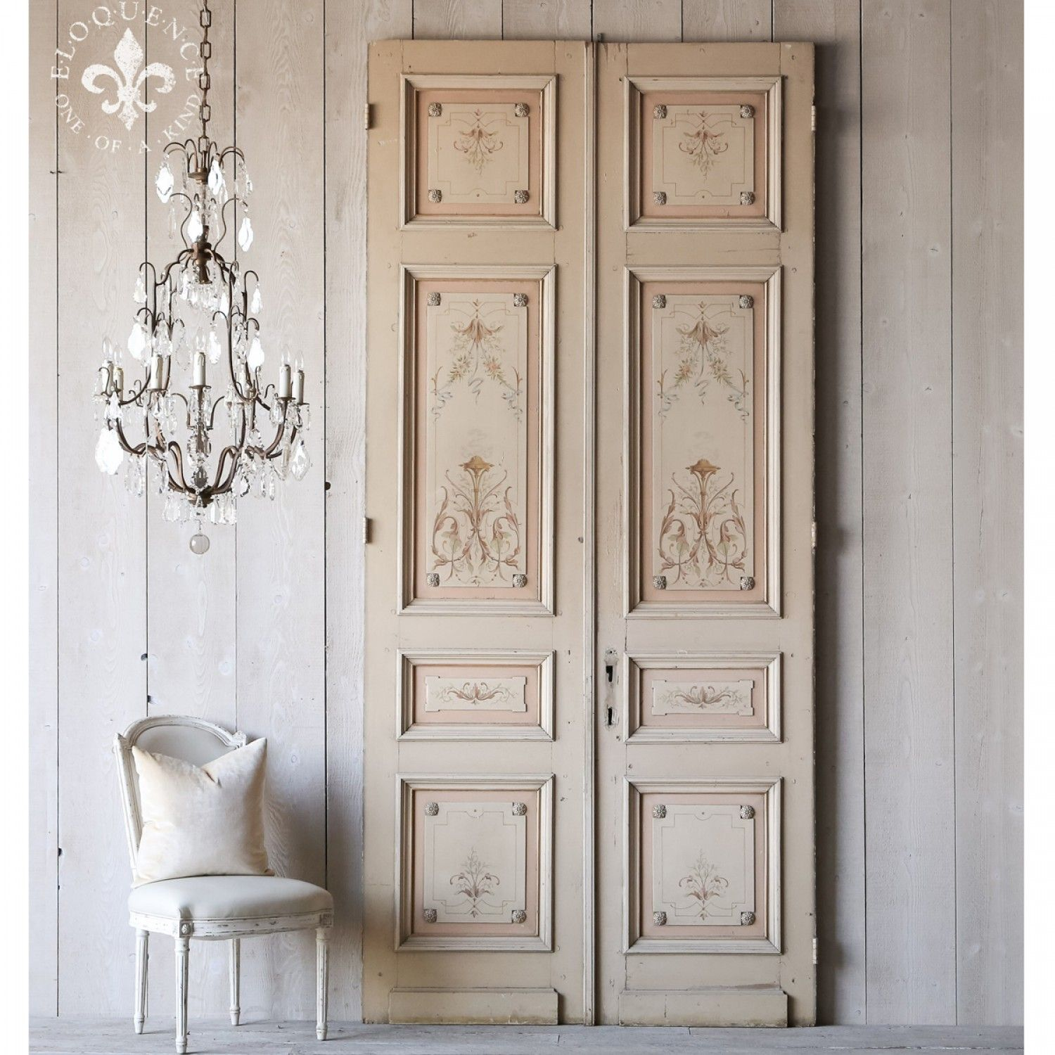 Home incredible pair of hand painted french interior antique doors antique interior french doors