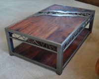 Wood And Metal Coffee Table With Distressed Top | Coffee ...