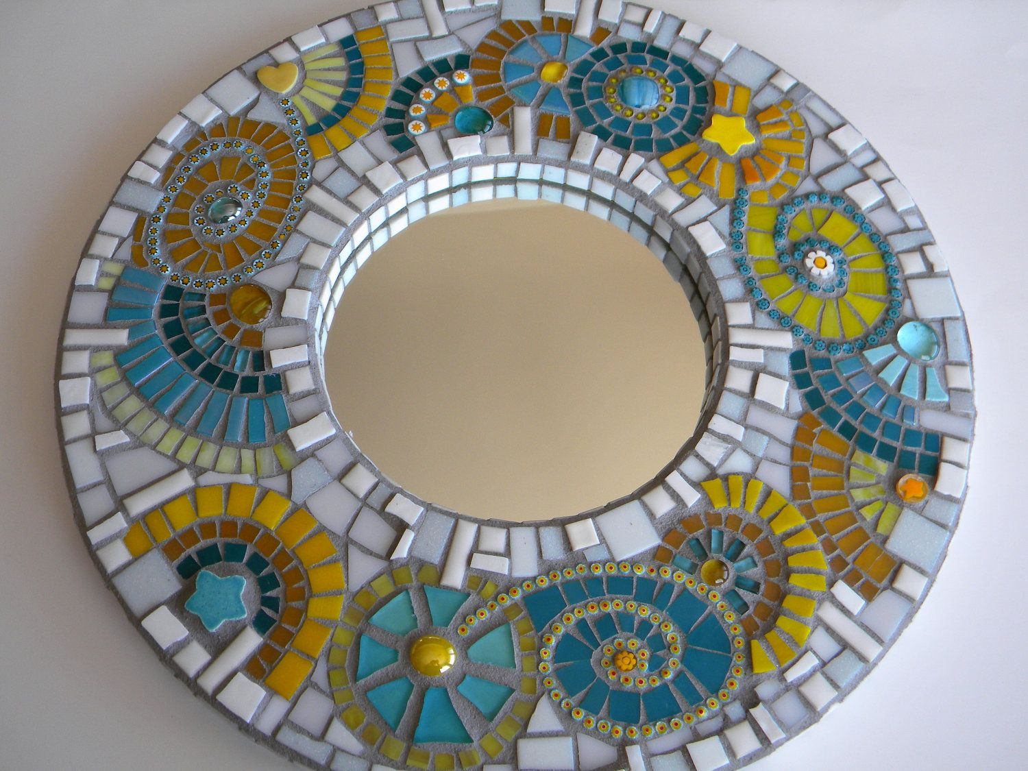 Spiegel Mosaik Turquoise Yellow Mosaic Mirror, Abstract Mirror, Home