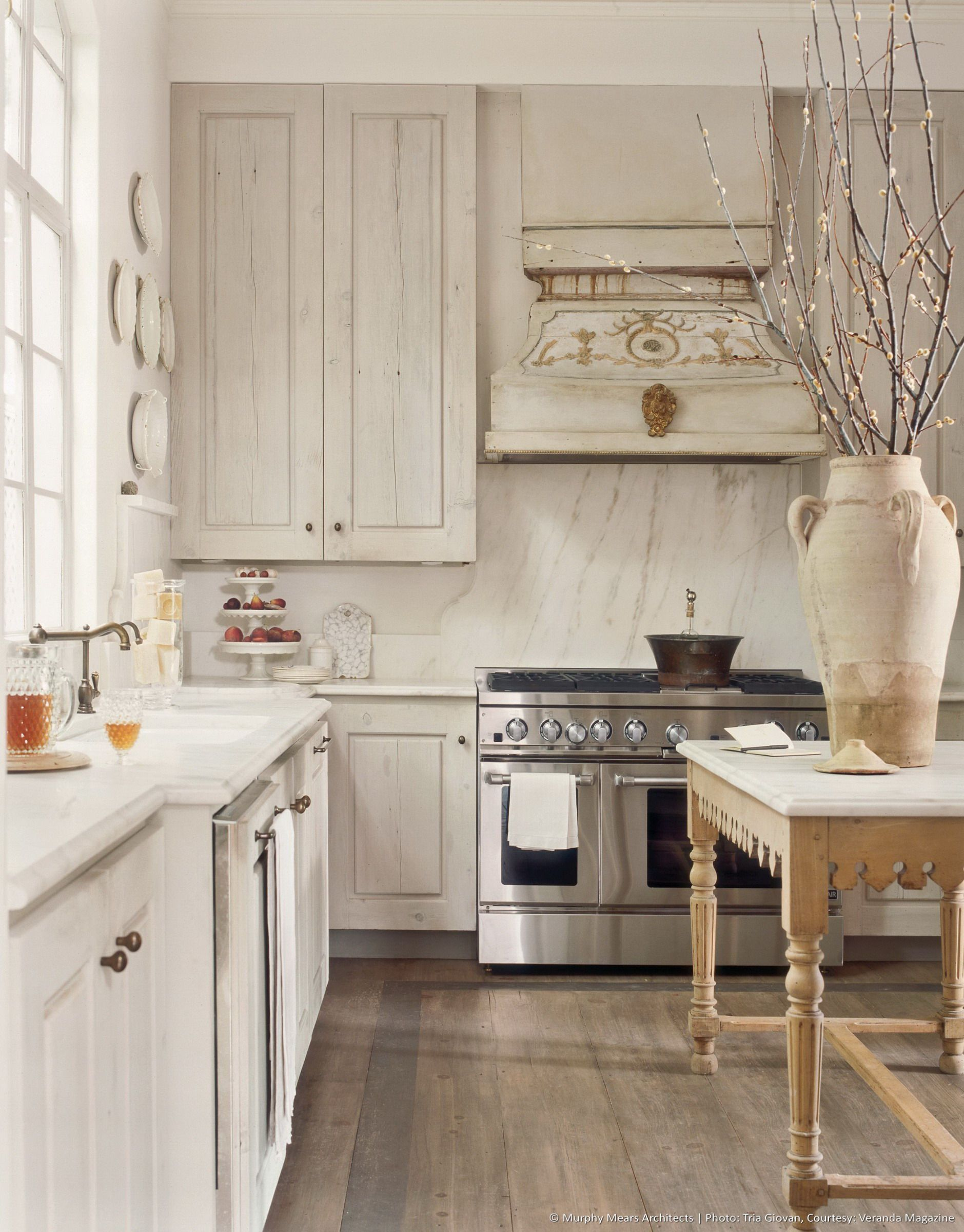 French White Kitchen Cabinets French Grey Kitchen With Tuscan Handpainted Hood Marble