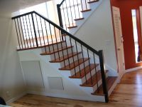 Contemporary stairs, Tigerwood treads, plain wrought iron ...