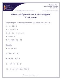 number sense & numeration: grade 8 order of operations ...