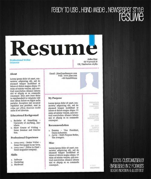 1_Free Resume Template - Newspaper Style u003eu003eu003e work related - cool free resume templates