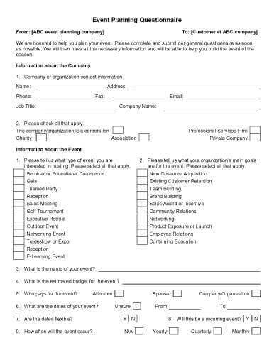 Event Planning Questionnaire How to do Stuff Pinterest Template - seminar planning template